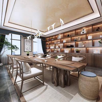 桌椅组合, 吊灯, 茶具组合, 置物柜, 装饰画