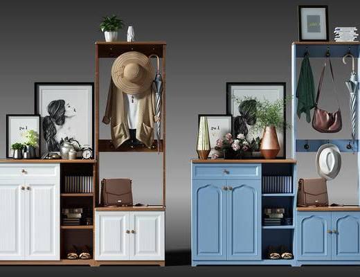 玄关, 玄关鞋柜, 玄关柜, 边柜, 装饰柜, 帽子, 衣服, 盆景, 植物, 装饰画, 包, 现代, 简欧