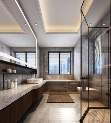 卫生间, 洗手台, 马桶, 装饰镜, 摆件, 装饰品, 陈设品, 新中式