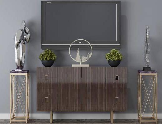 电视柜, 摆件组合, 盆栽