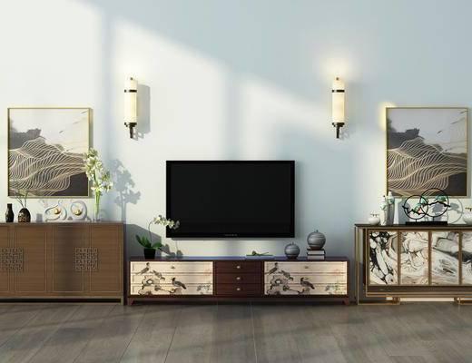 电视柜, 装饰柜, 边柜, 装饰画, 挂画, 壁灯, 摆件, 装饰品, 陈设品, 北欧
