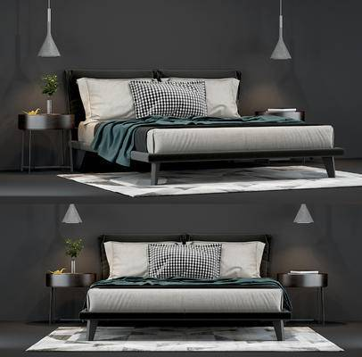 床, 床品, 床头柜, 吊灯, 装饰品, 绿植