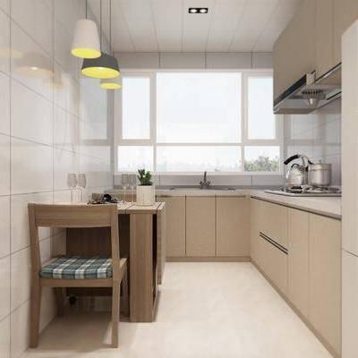 厨房, 现代, 餐桌椅, 橱柜, 吊灯, 餐桌, 椅子, 单椅