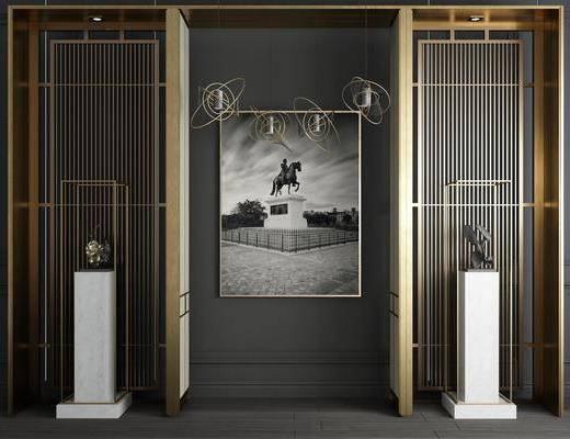金属屏风, 屏风隔断, 吊灯组合, 装饰画, 挂画, 摆件, 装饰品, 陈设品, 现代