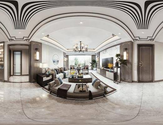 新中式, 客厅, 餐厅, 家装