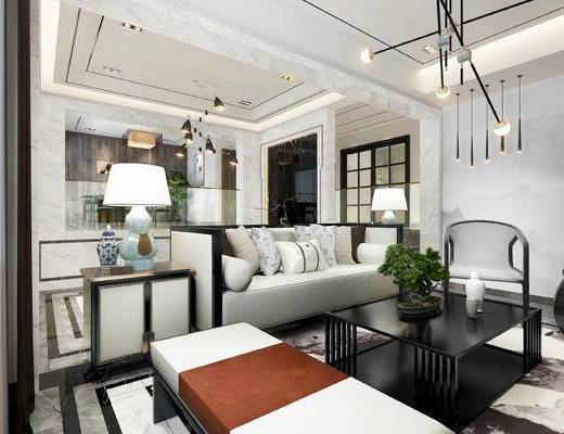 客厅, 沙发组合, 沙发茶几组合, 新中式, 现代客厅, 吊灯