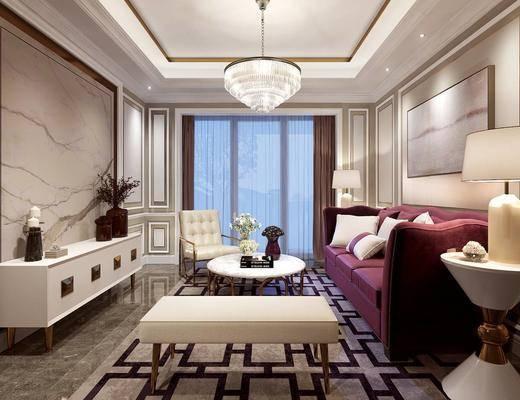 客厅, 简欧客厅, 沙发组合, 茶几, 单椅, 电视柜, 摆件组合, 简欧