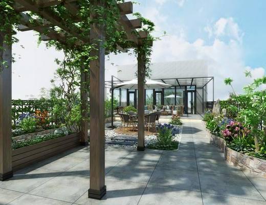 露台, 绿植, 单椅, 茶几, 沙发凳, 现代