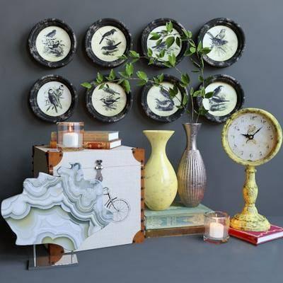 摆件组合, 瓷器, 书籍, 座钟, 蜡烛台, 摆件, 装饰品, 组合, 现代
