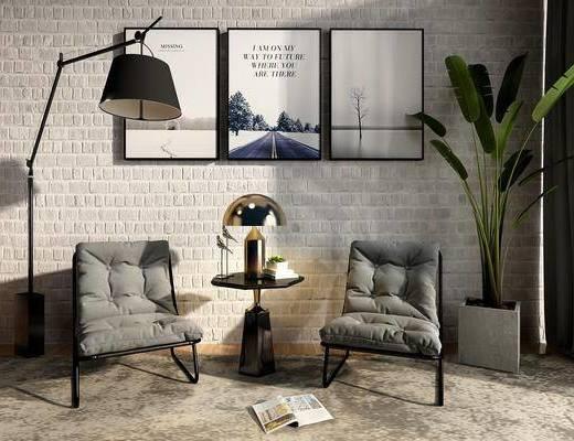 现代沙发组合, 沙发茶几组合, 单人沙发
