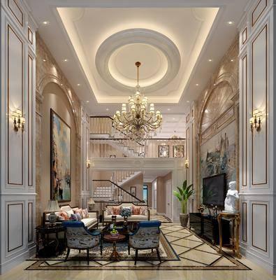 别墅客厅, 多人沙发, 茶几, 双人沙发, 电视柜, 边柜, 吊灯, 壁灯, 单人沙发, 盆栽, 绿植植物, 楼梯, 边几, 台灯, 装饰画, 挂画, 欧式