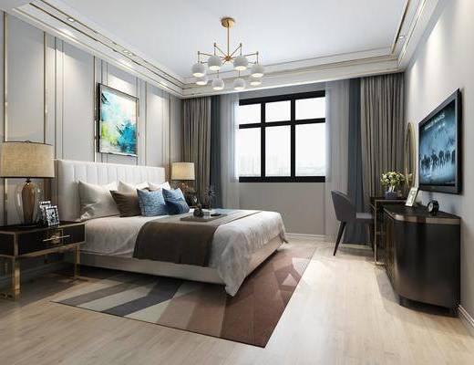 后现代, 卧室, 双人床