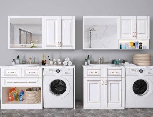 简欧洗衣柜, 洗衣柜, 洗手盆