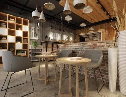 面包房, 甜品店, 装饰柜, 餐桌, 单人椅, 吊灯, 装饰品, 陈设品, 摆件, 现代