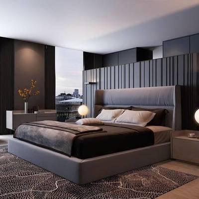 现代千亿国际app|娱乐网站, 现代双人床, 双人床组合, 双人床, 下得乐3888套模型合辑