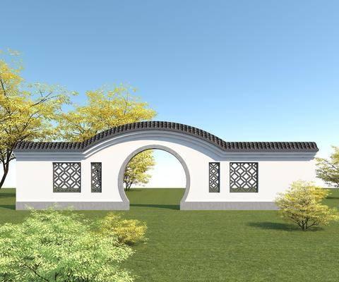 中式拱门, 庭院景观墙