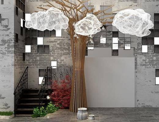 景观园林, 树木, 吊灯