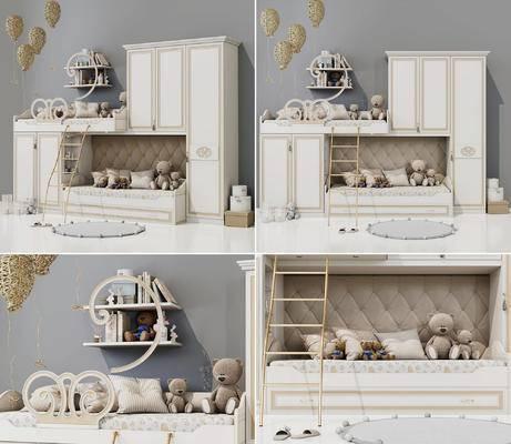 儿童床, 上下床, 玩具, 搁板, 置物架, 公仔, 简欧, 简美, 现代