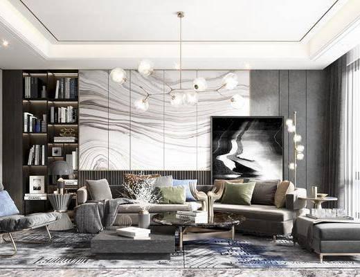 沙发组合, 休闲椅子, 组合茶几, 落地灯, 吊灯, 书柜, 角几