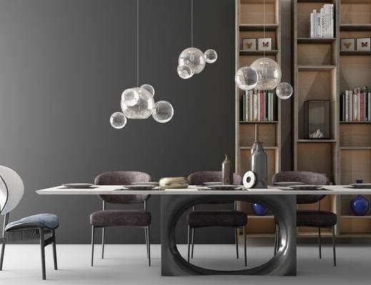 餐厅, 桌椅, 椅子, 吊灯, 装饰柜