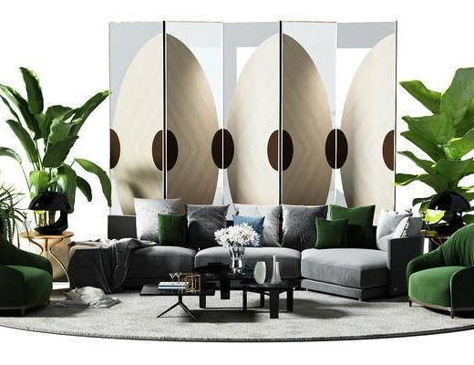 转角沙发, 沙发椅, 椅子, 盆景, 植物, 隔断, 屏风, 地毯, 现代客厅, 布艺沙发
