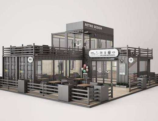 工业风集装箱, 快餐店, 奶茶店, 咖啡店, 甜品店