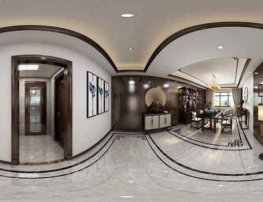 客厅, 沙发组合, 背景墙, 吊灯, 置物柜, 边柜, 接待区