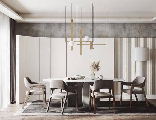 现代餐厅, 餐桌椅组合, 现代餐桌椅