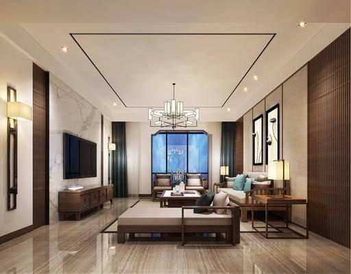 客厅, 多人沙发, 茶几, 单人沙发, 躺椅, 边几, 台灯, 吊灯, 装饰画, 挂画, 壁灯, 电视柜, 装饰柜, 摆件, 装饰品, 陈设品, 新中式