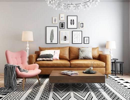 沙发, 沙发组合, 北欧沙发, 茶几, 装饰画, 沙发茶几组合, 北欧