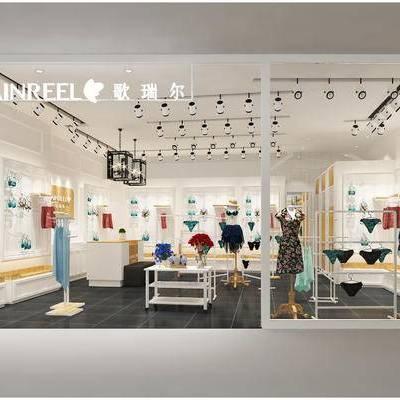 现代, 服装店, 旗舰店, 花瓶, 装饰品, 展台, 置物柜, 衣架, 衣服, 柜架, 展板