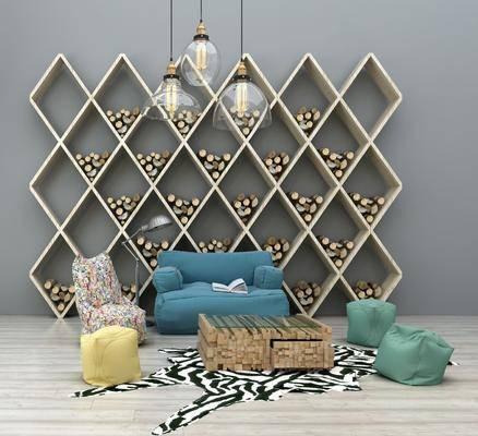 现代布艺沙发组合, 单人沙发, 茶几, 沙发凳, 置物架, 现代