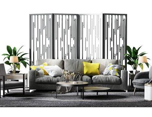 沙发组, 隔断, 屏风, 盆景, 植物, 沙发椅, 休闲椅, 茶几, 茶几组合, 椅子, 现代