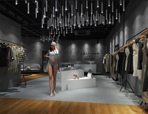 现代服装店, 衣服, 吊灯, 人, 现代