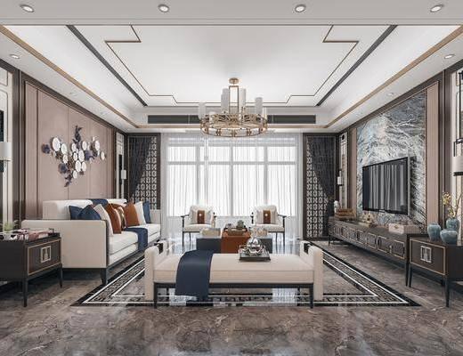 沙发组合, 墙饰, 吊灯, 电视柜, 背景墙, 壁灯