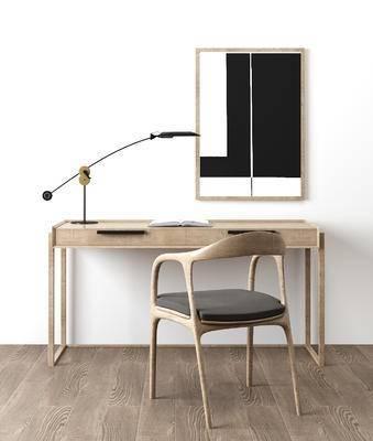 挂画, 北欧, 简约, 书桌, 椅子, 单椅, 台灯, 装饰画