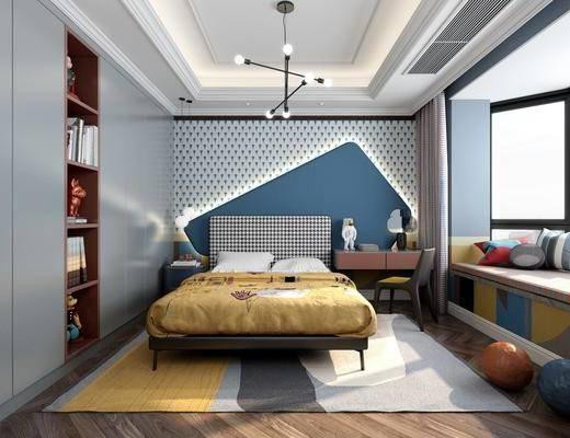后现代儿童房, 儿童房, 床具, 吊灯, 衣柜, 床头柜, 书桌, 椅子, 玩具