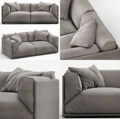 双人沙发, 抱枕, 沙发, 布艺, 现代