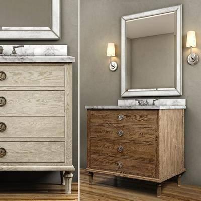 洗手台柜, 浴镜, 壁灯, 现代