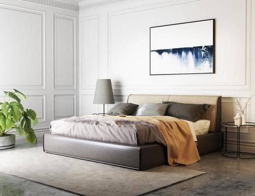 卧室, 床具组合, 双人床, 挂画, 植物
