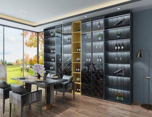 现代酒柜, 餐桌椅, 桌椅组合, 板式酒柜