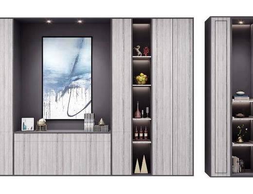 装饰柜, 酒柜, 摆件组合, 现代装饰柜