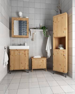 浴室柜, 卫浴柜, 洗手台, 装饰镜, 浴室, 绿植植物, 北欧