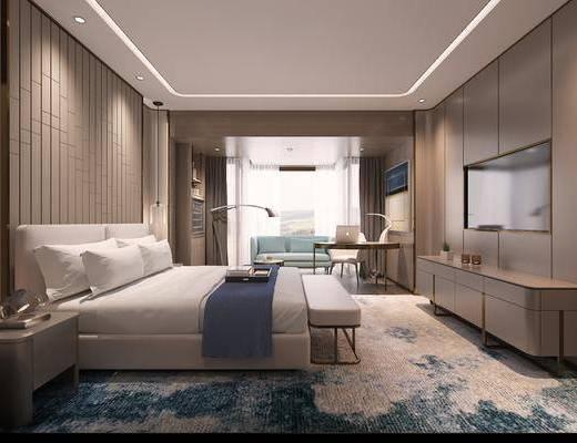 现代, 酒店, 客房, 双人床, 床具组合