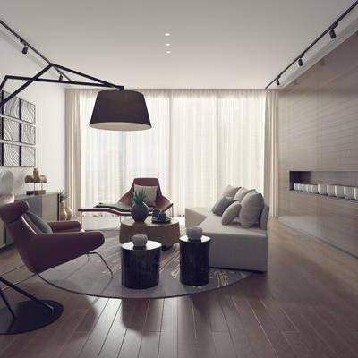 客厅, 多人沙发, 单人沙发, 茶几, 凳子, 摆件, 落地灯, 挂画, 装饰画, 电视柜, 边柜, 装饰品, 陈设品, 现代
