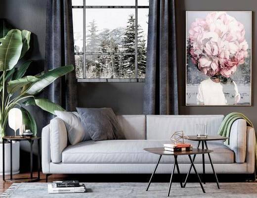 北欧沙发, 布艺沙发, 双人沙发, 盆栽, 现代挂画, 现代茶几