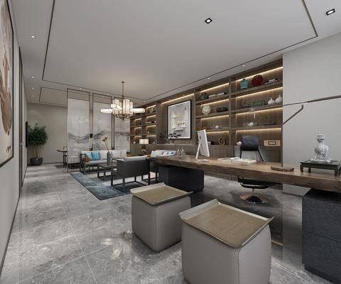 茶艺桌, 博物架, 中式吊灯, 办公桌