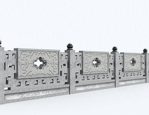 栏杆, 中式石栏杆3d模型, 石墩, 户外建筑