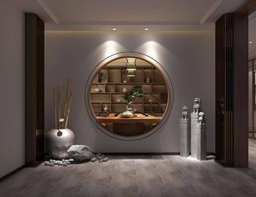 玄关走廊, 玄关石狮子, 盆栽, 绿植植物, 茶桌, 茶具, 新中式