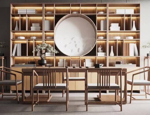 书桌, 书房, 书柜, 书籍, 摆件组合, 单椅